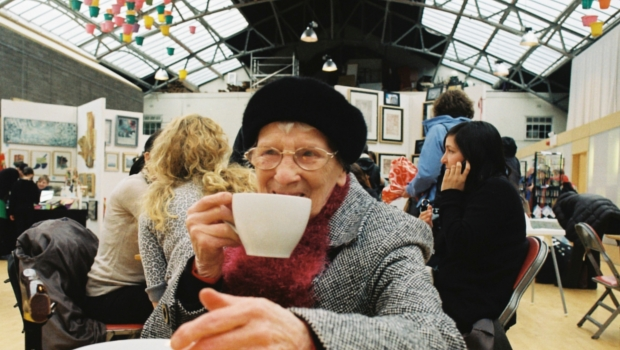 Lady enjoying a nice cup of tea