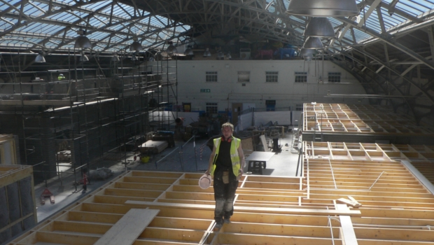 Image depicts the construction of the studio spaces in the Drill Hall.
