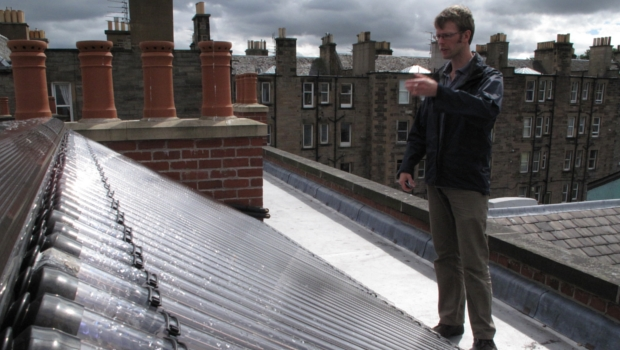 Man on the Drill Hall roof