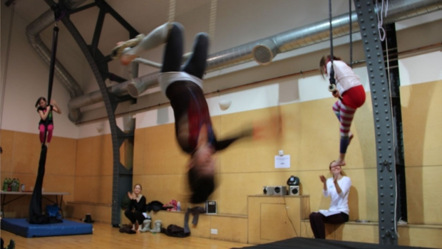 Aerialists swinging from the roof