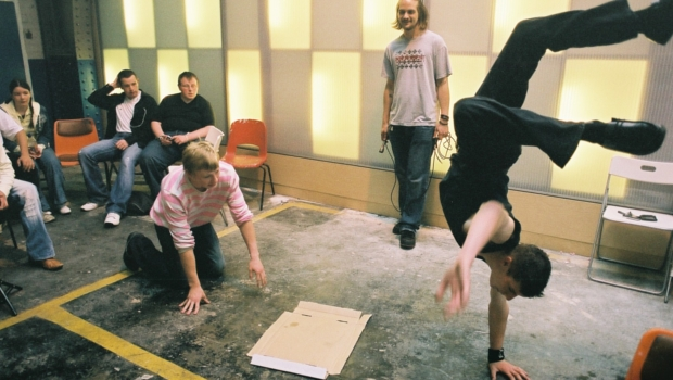 People participating in a breakdancing workshop in the Drill Hall