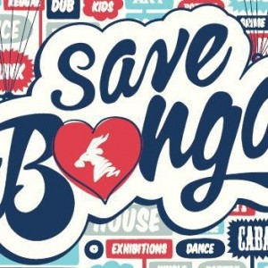 Official poster of the 'Save the Bongo' campaign, highlighting the variety of events hosted at The Bongo Club, including Dance, Exhibitions, Cabaret, House music and Kids events.