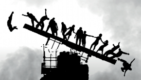People balancing on a collapsing structure