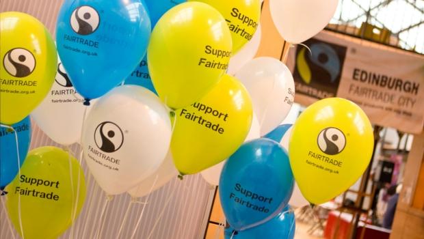 Yellow & blue balloons at Edinburgh Fairtrade Gala