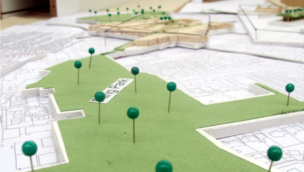 Pins on an architectural map of Leith