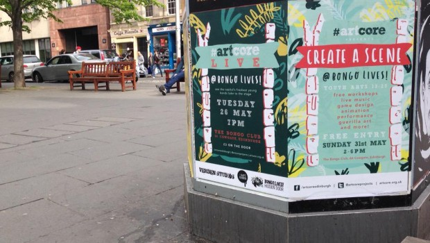'artcore Live' posters at the Grassmarket featuring 'Bongo Lives'.