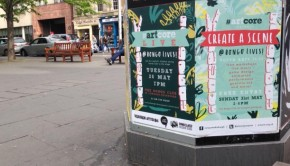 Posters of 'Bongo Lives' and 'artcore Live' at the Grassmarket in Edinburgh.