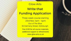 Write That Funding Application poster by Glow Arts