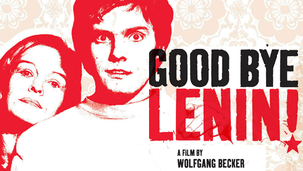 The poster for 'Goodbye, Lenin' featuring the main characters and the film logo