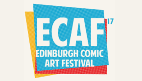 The logo of the Edinburgh Comic Art Festival 17, using a blue, yellow and red colour pallete
