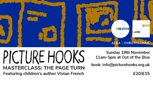 Picture Hooks poster with the Creative Scotland logo and contact as info@picturehooks.org.uk
