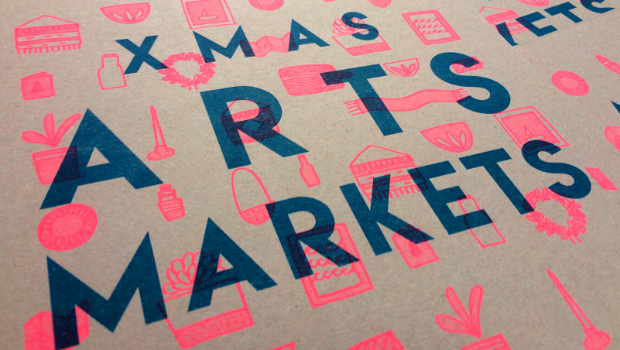 Stylised 'Christmas Arts Markets' poster with magazines, plants, scarves and jewellery
