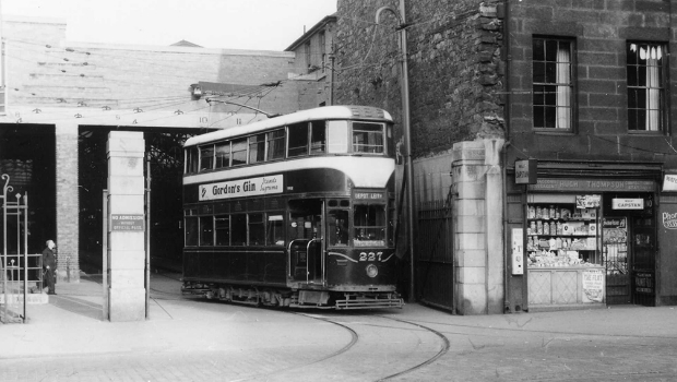 An original tram leaves the former Tram Depot on Leith Walk