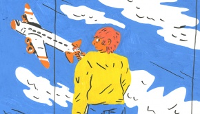 Terminal Velocity artwork - man looking at a plane