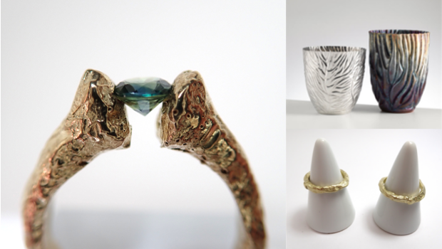 Fine jewellery, cups, rings and diamonds on display