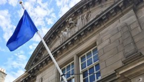 Blue flag flying outside the Drill Hall on Dalmeny Street, Edinburgh.