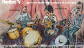 Caricatures of the band 'Playtime Trio' playing guitar, drums and saxaphone in an improvised concert