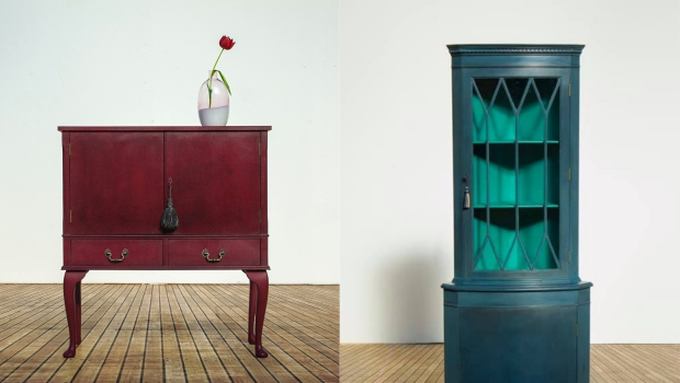 Storage furniture painted by Candace Roberts