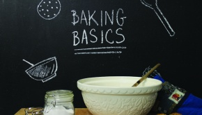 Baking Basics showing a cake bowl and sugar