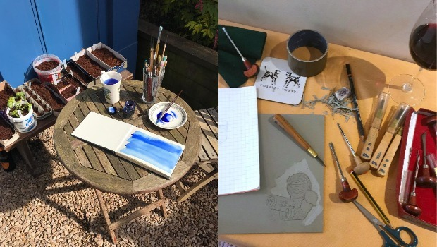 Craft materials on a table including paint, paintbrushes, scissors and pencils