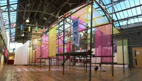 The Drill Hall main atrium with the 'Walk Don't Walk' exhibition erected